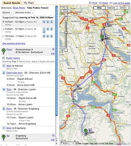 Google Transit includes Switzerland